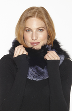 Beautiful-Woman-Wearing-Genuine-Rex-Rabbit-and-Fox-Fur-Infinity-Scarf-by-Linda-Richards-IN213