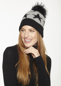 Beautiful-Woman-Wearing-Mohair-Wool-Cap-with-Stars-and-fur-pom-pom-by-Linda-Richards-HA19