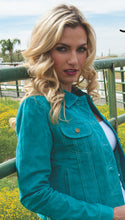 Beautiful-Woman-Wearing-Turquoise-Suede-Leather-Jean-Jacket-by-Scully-L107