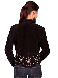 Beautiful-Woman-Wearing-a-Black-Leather-Concho-Jacket-by-Scully-L191