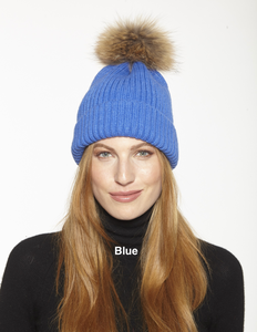 Wool Ribbed Knit Hat with Genuine Fur Pom Pom, 11 Colors!  HA11