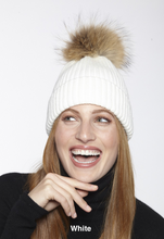 Beautiful-Woman-Wearing-the-Wool-Ribbed-Stocking-Cap-with-Genuine-Fur-Pom-Pom-by-Linda-Richards-HA11