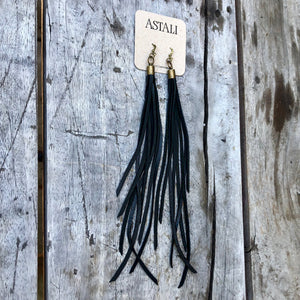 Leather Tassel Earrings in Black, BK-E1128H