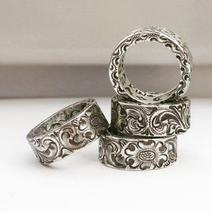 Four-Solid-Sterling-Silver-Hand-Engraved-King-Rings-by-Silver-King-USA