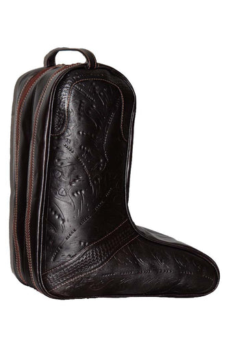 Boot Bag in Hand Tooled Leather, Multi Colors 8423