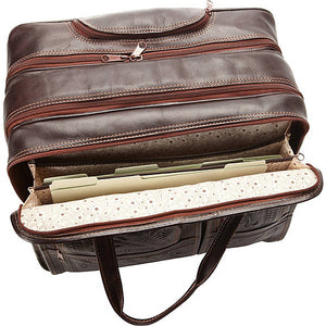 Roller Briefcase in Hand Tooled Leather, Four Wheeled, Multi Colors 4824