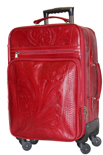 Carry On Four Wheeled Roller in Hand Tooled Leather, Multi Colors 840L