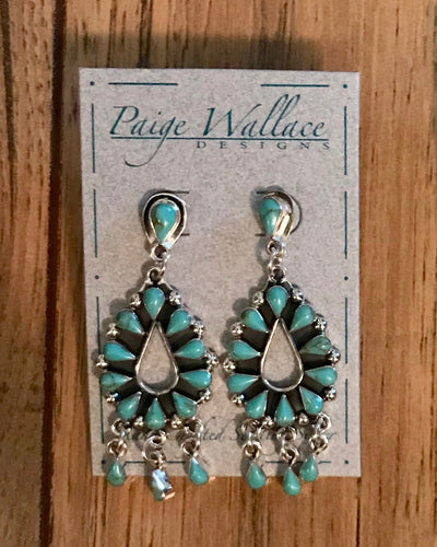 Turquoise Single Tier Chandelier Earrings