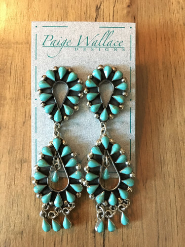 Turquoise Double Tier Chandelier Earrings