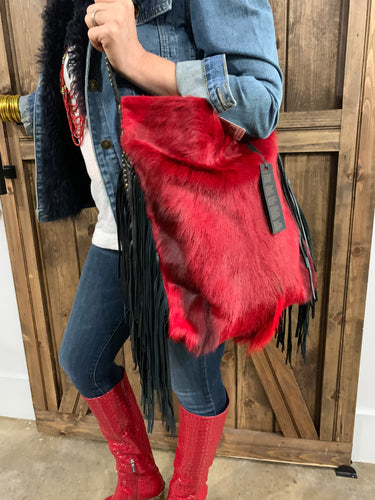 Red Antelope Bag with Cascading Fringe 2016H