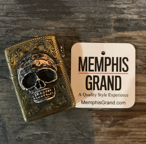 Fully Engraved Custom Brass Armor Zippo Lighter with Sterling Silver Skulls