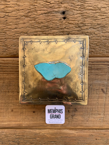 Square Box with Turquoise Slab, WJA-105-T