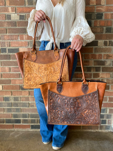 Bison Leather Handbag with Hand Tooled Pockets 2050