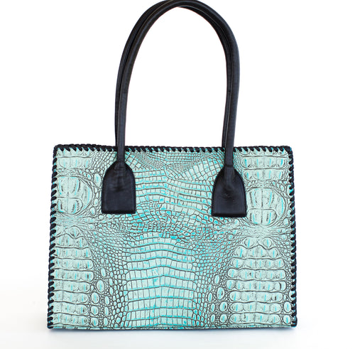 Juan-Antonio-Embossed-Hornback-Leather-in-Turquoise-with-Lacing-2003