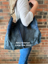 Antelope Hide Leather BoHo Handbag in Navy, Three Sizes, 330H-331H-332H