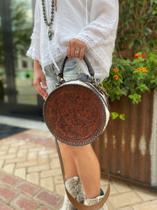 Juan-Antonio-Handcrafted-Hand-Tooled-Canteen-Style-Handbag-Carried-by-a-Beautiful-Woman-333H-