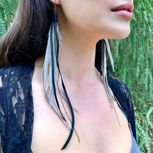 Feather and Leather Pirate Earrings, Silver & Black, BK-E1093A