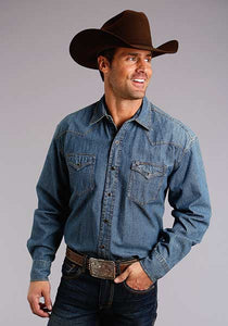 Man-Wearing-Blue-Denim-Western-Shirt-by-Stetson