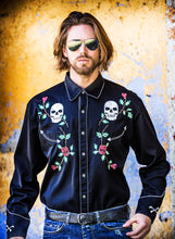 Man-Wearing-Embroidered-Skulls-and-Roses-Shirt-by-Scully-P771