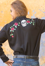 Man-Wearing-Embroidered-Skulls-and-Roses-Shirt-by-Scully-P771-1