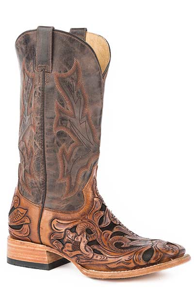 Mens-Brown-Handtool-Leather-Square-Toe-Boot-by-Stetson-8863-1610
