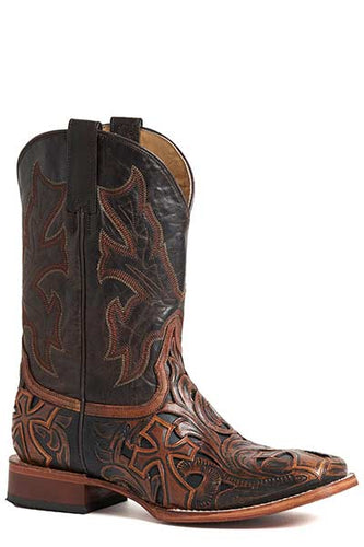 Mens-Brown-Handtooled-Crosses-Leather-Square-Toe-Boot-by-Stetson-8861-1640