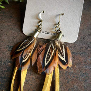 Feather Mini Earrings, Gold/Pheasant, BK-E1132B