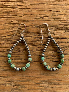 Turquoise Beads & Navajo Pearls Loop Earrings 16