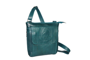 Conceal-Carry Cross Body Purse, Hand Tooled Leather, 9461
