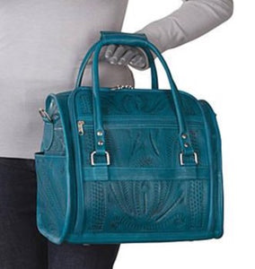 Carry On Vanity Bag in Hand Tooled Leather, Multiple Colors, 990