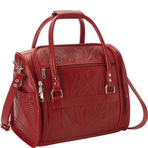 Carry On Four Wheeled Roller with Vanity Bag in Hand Tooled Leather, Multiple Colors, 990 & 840L