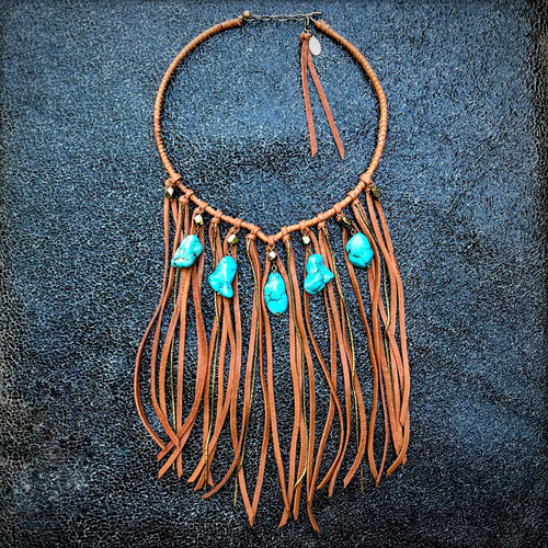 Collar Necklace with Rust Deerskin Fringe & Turquoise Stones, WD-N1065