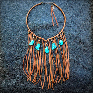 Deerskin Collar with Fringe & Turquoise, Rust, WD-N1065