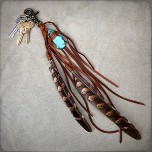 Clip, Feather & Leather with Turquoise Stone, Rust, BK-KY1126C