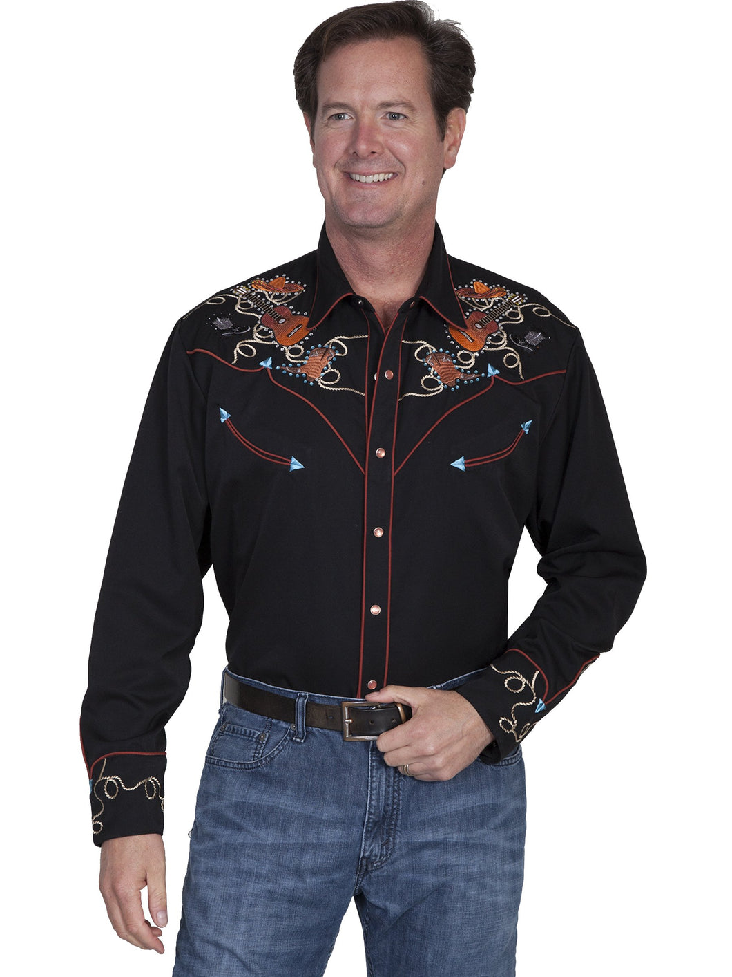 Scully-Western-Men's-Shirt-with-Guitars-Boots-Hats-P842