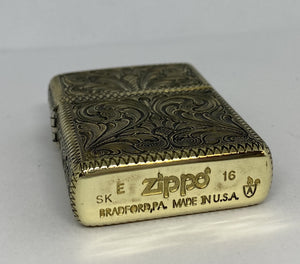 Silver-King-Zippo-Brass-Armor-Lighter-Fully-Engraved-Made-in-USA