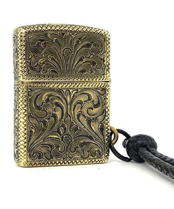 Silver-King-Zippo-Brass-Armor-Lighter-Fully-Engraved-with-Black-Onyx-Accents-Made-in-USA