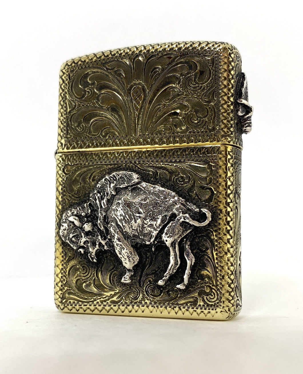 Fully Engraved Brass Armor Zippo Lighter With Sterling