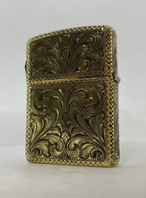 Silver-King-Zippo-Brass-Armor-Lighter-Fully-Engraved-with-Sterling-Silver-Buffalo-Made-in-USA
