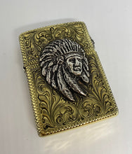 Silver-King-Zippo-Brass-Armor-Lighter-Fully-Engraved-with-Sterling-Silver-Chief-Made-in-USA