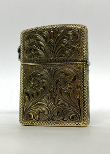 Silver-King-Zippo-Brass-Armor-Lighter-Fully-Engraved-with-Sterling-Silver-Skull-Made-in-USA