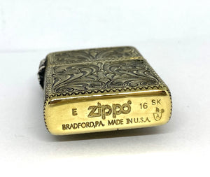 Silver-King-Zippo-Brass-Armor-Lighter-Fully-Engraved-with-Sterling-Silver-Spider-and-Web-Made-in-USA