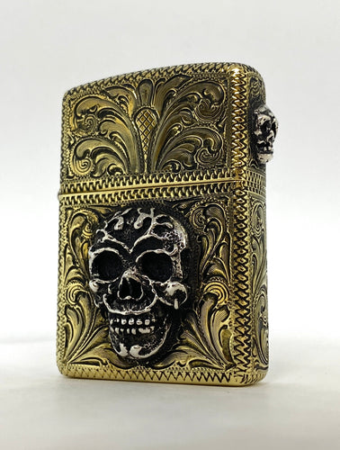 Silver-King-Zippo-Brass-Armor-Lighter-Fully-Engraved-with-Sterling-Silver-Sugar-Skull-Made-in-USA