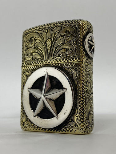 Silver-King-Zippo-Brass-Armor-Lighter-Fully-Engraved-with-Sterling-Silver-Texas-Ranger-Star-Made-in-USA