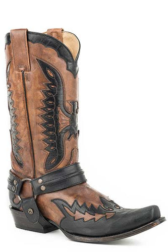 Stetson-Mens-Eagle-Inlay-Harness-Boot-in-Black-and-Tan