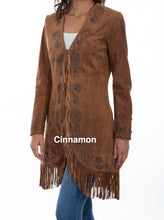 Woman-Wearing-Long-Suede-Leather-Jacket-With-Fringe-by-Scully-L165