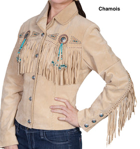 Woman-Wearing-Suede-Leather-Jacket-with-Conchos-and-Fringe-by-Scully-L152