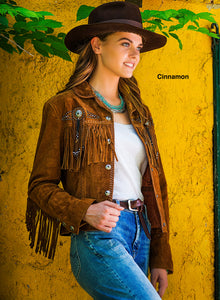 Beautiful-Woman-Wearing-Suede-Leather-Jacket-with-Conchos-and-Fringe-by-Scully-L152