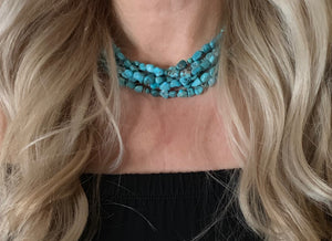 Woman-Wearing-Three-Strand-Turquoise-Necklace-by-Paige-Wallace-Designs
