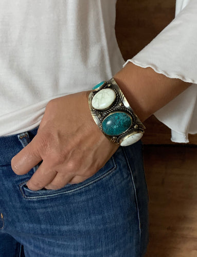 Woman-Wearing-White-Buffalo-and-Blue-Turquoise-Cuff-by-Paige-Wallace-Designs-314EC
